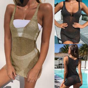 Femmes Plage Bikini Cache Courte Maille Cover Up été Boho Mini Robe Hanche Sexy
