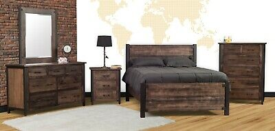Amish 5 Pc Bedroom Set Rustic Industrial Solid Wood Black Metal Posts Queen King Ebay