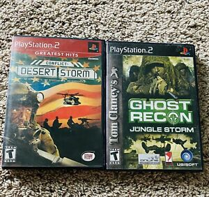 Playstation-2-Game-Lot-Desert-Storm-And-Ghost-Recon-Jungle-Storm-Lot-Of-2-Games