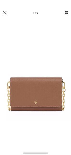 e20996d23269 NEW Tory Burch Emerson Saffiano Leather Chain Wallet Crossbody Clutch Bag