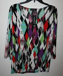 TRAVEL-ELEMENTS-PRINTED-SCOOP-NECK-TOP-Womens-Size-M-3-4-Sleeve-MSRP-72-NEW-NWT