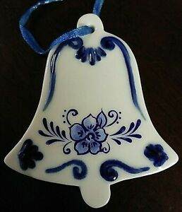 Nice-Delft-Blue-Porcelain-China-Christmas-Bell-Kurt-S-Adler-Christmas-Ornament