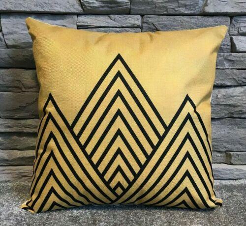 "Cushion cover or Filled cushion linen effect designs Mustard black fur 17/""x 17/"""