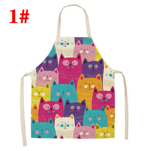 Animal Aprons Kitchen Apron Printed Washable Cotton Linen Sleeveless Cat Cute US