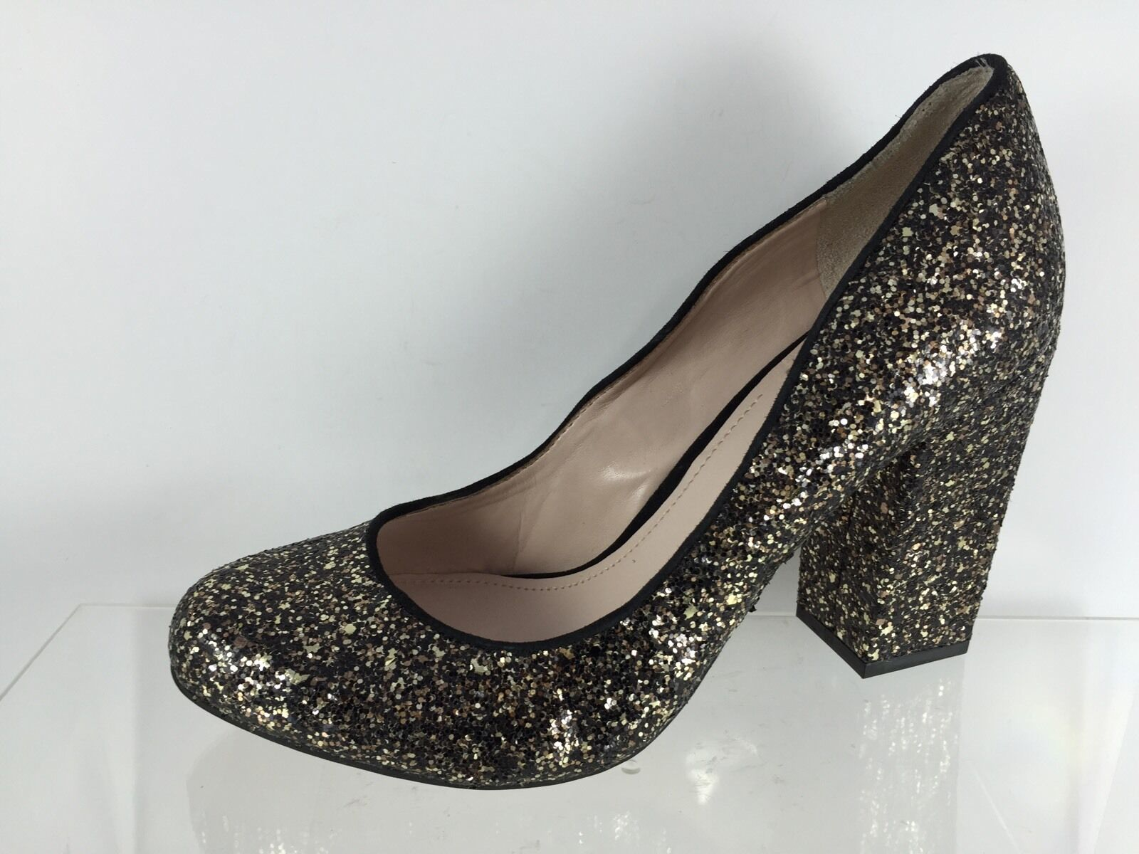 a70d2918f ... Vince Vince Vince Camuto Womens Black Gold Glittered Heels 7.5 M 57a7bc  ...