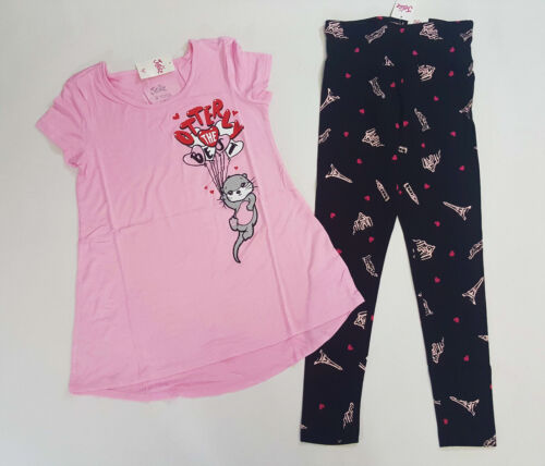 NWT Justice Girls Size 6//7 8 10 12 14//16 18//20 Otter Love Top /& Heart Leggings