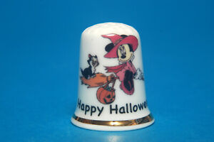 Happy-Halloween-from-Minnie-Mouse-amp-Her-Black-Cat-China-Thimble-B-174
