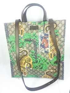 1c64f6bf276 Image is loading Gucci-450950-Bengal-Tiger-GG-Supreme-Large-Tote-
