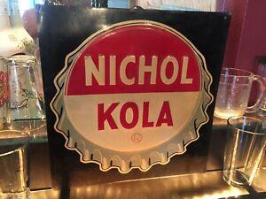 LARGE-SCARCE-NOS-Vintage-c1940-Nichol-Kola-5c-Soda-Pop-Gas-Station-Metal-Sign