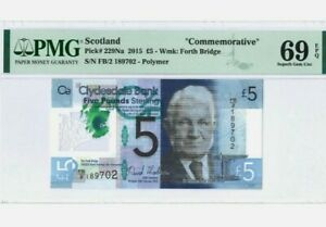 2015-SCOTLAND-CLYDESDALE-5-034-Commemorative-034-PMG69-EPQ-SUPERB-GEM-UNC-P-229Na
