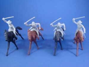 MARX-Civil-War-Toy-Soldiers-Playset-4-Confederate-Cavalry-w-Horses-FREE-SHIP