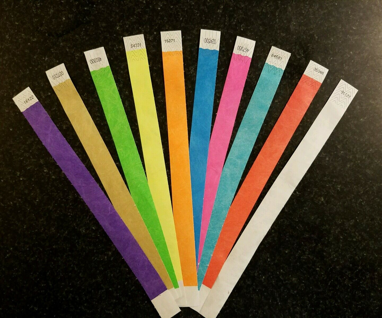10,000 3 4  les bracelets Tyvek (1,000 chacun de 10 couleurs)