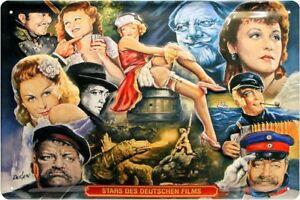 Blechschild Stars des deutschen Films Albers Rühmann Kingski Rökk 20 x 30
