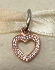 60e0df05e New Genuine Pandora Dangle 14k Rose Gold Symbol Of Love Clear CZ ...