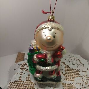 "POLONAISE Glass ""CHARLIE BROWN SANTA"" Peanuts Ornament"