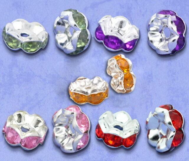 100 Mix Versilbert Strass Rondelle Spacer Perlen Beads