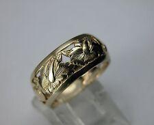 1940 ART DECO 14K GOLD ETERNITY BAND WEDDING RING  ANTIQUE FLORAL ENGRAVED