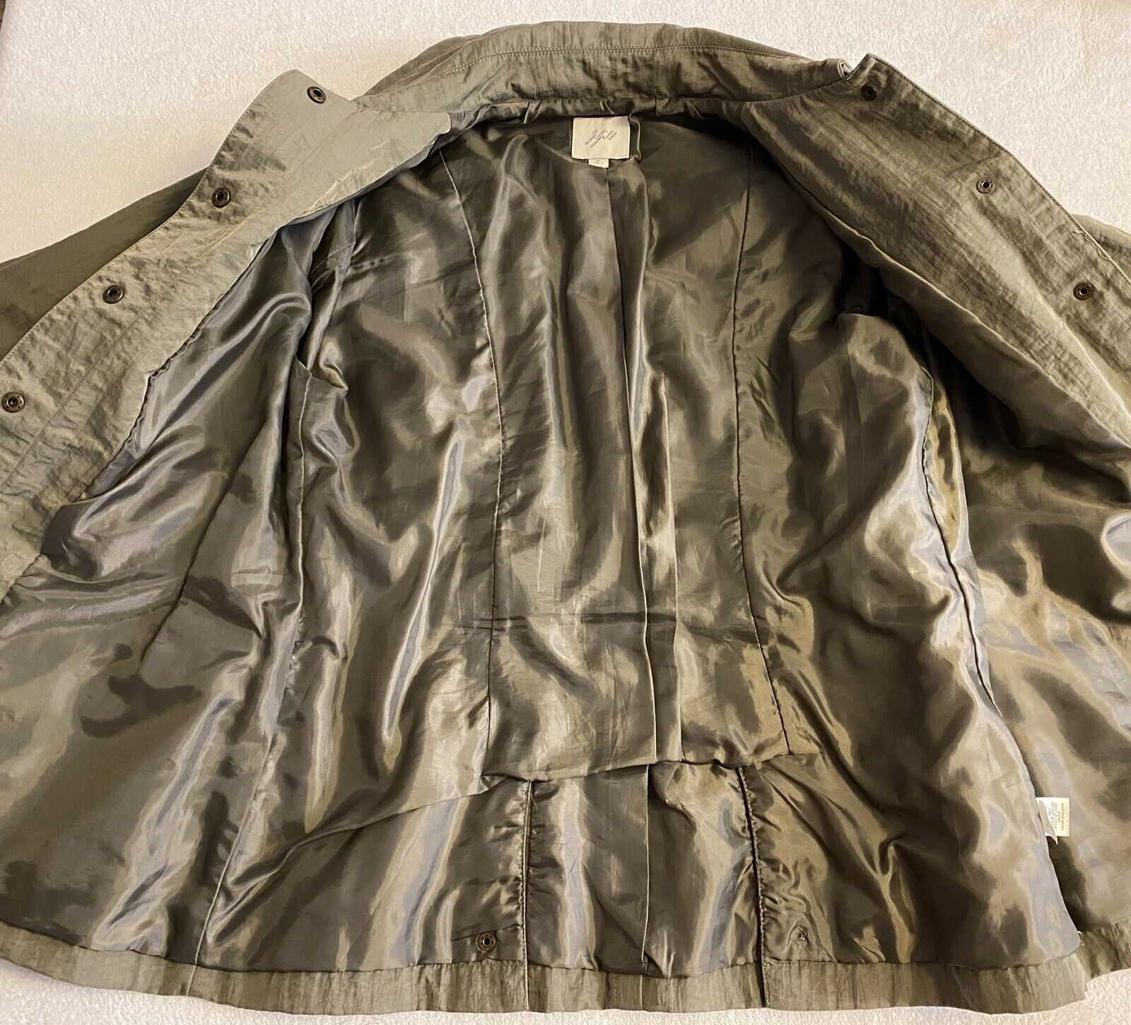 J Jill Olive Green SILKY BELTED Military TRENCH C… - image 4