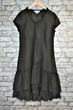 Women's Elegant Black Short Sleeved Ruffled Lined Dress Uk Size 14