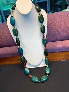 """Vintage Bohemian Wood Beaded Statement Necklace Turquoise green Brown Long 40"""""""