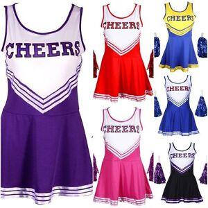Vestido-de-Disfraz-Traje-de-Disfraz-cheerleader-con-pompones-Chicas-High-School-Musical