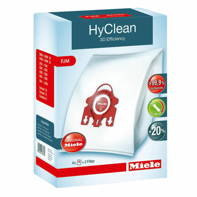 Genuine Miele Type FJM Vacuum Cleaner Bag HyClean 3D Efficiency Canister 4 Bags