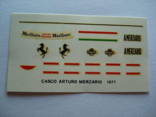 DECALS KIT 1//12 HELMET CASCO ARTURO MERZARIO ALFA ROMEO FERRARI F1 DECAL
