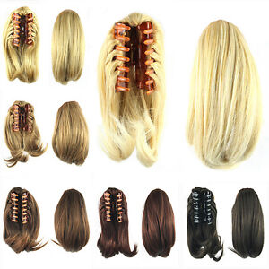 Hair-Extension-Pony-Tail-Women-Girls-Clip-In-Hairpiece-Claw-Piece-Short-S-plas