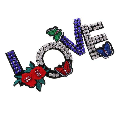 1 stück Liebe Strass Perlen Patches Stickerei Stoff Applikationen