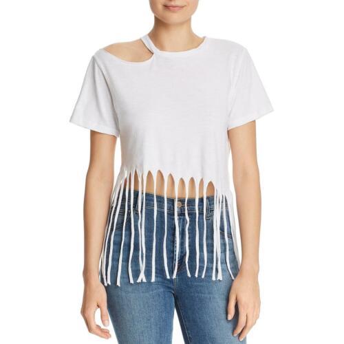 LNA Clothing Womens Romana Fringed Cut Out Casual Crop Top Shirt BHFO 1485