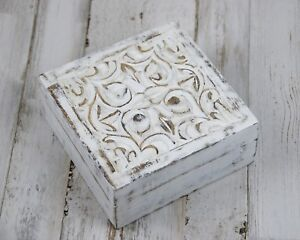 Shabby-farmhouse-chic-distressed-white-wood-trinket-box-with-carved-filigree-lid