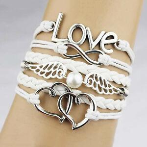 Leder-Wickelarmband-Armkette-Vintage-Armband-Lederarmband-Infinity-Love