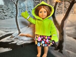 "Green 3 pc 18"" Doll Clothes Outfit Fits American Girl dolls Hoodie Skirt Mitten"