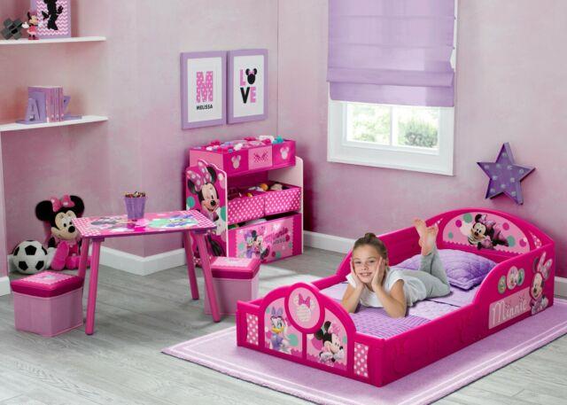 Disney Minnie Mouse Toddler Bedroom Set Table Ottoman Multi-Bin Toy  Organizer