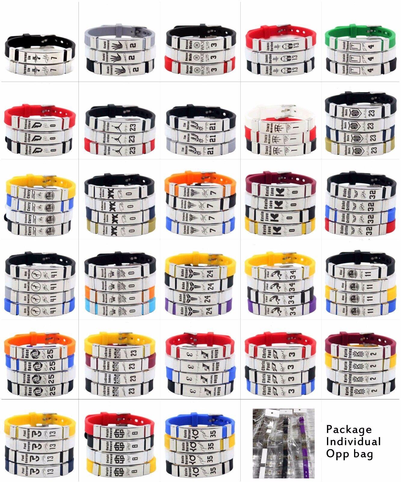 NBA Basketball Bracelet Silicone and Stainless Steel adjustable Wristband 1pcs Seasonal clearance sale
