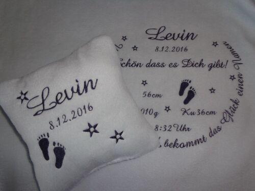 mit Namen bestickt*Geburt*personalisiert Babydecke und Kissen und Handtuch