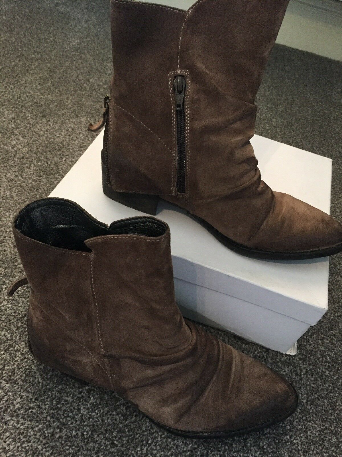 Italian Brown Distressed Suede Western Ankle Boots Zip Detail Size 5 38 VGC