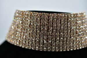 Thick-Statement-Choker-Necklace-Gold-Rhinestone-Crystal-Cocktail-Sparking-Bin3