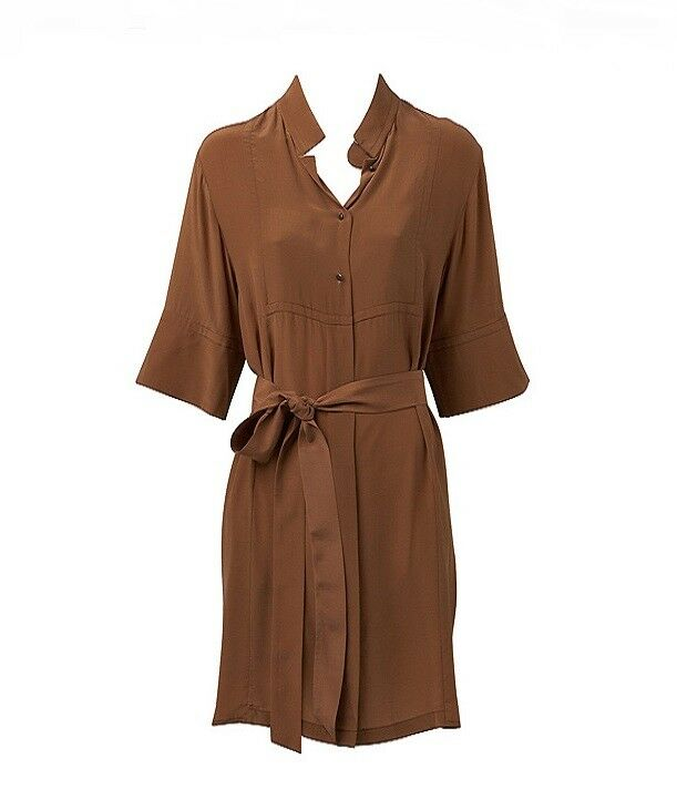 NWT  WITCHERY Shirt DRESS with Belt in Pure SILK   8 - 16   GINGER