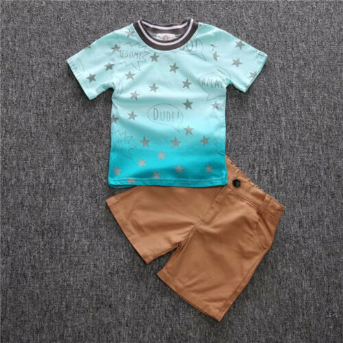 2pcs Kids Baby Boys Short Sleeve Star T-Shirt+Shorts Cotton Beach Clothes Sets