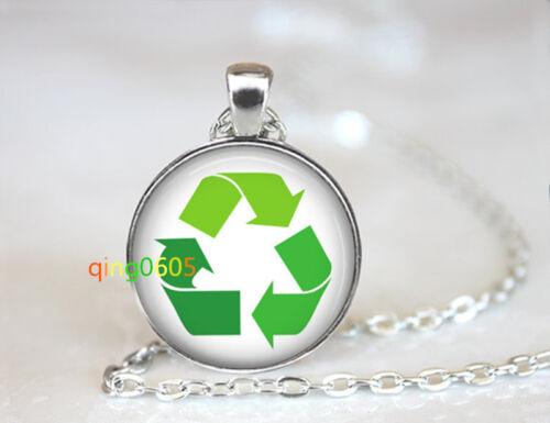 Recycler symbole dôme en verre Tibet Argent Chaîne Collier Pendentif en gros