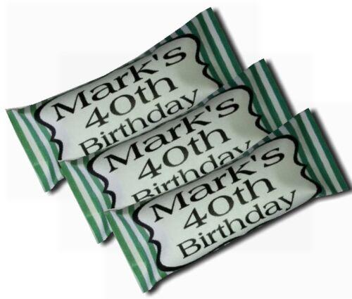50 x personnalisé bonbons 18th 21st 30th 40th 50th parti faveur candy stripe