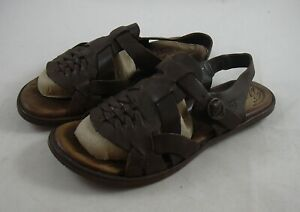 dc653e2bc48a Born Dark Brown Leather Flat Gladiator Sandal Shoes Womens sz8 EUR ...