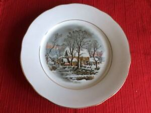 CROWN-BAVARIA-PORCELAIN-WINTER-SCENE-PLATE