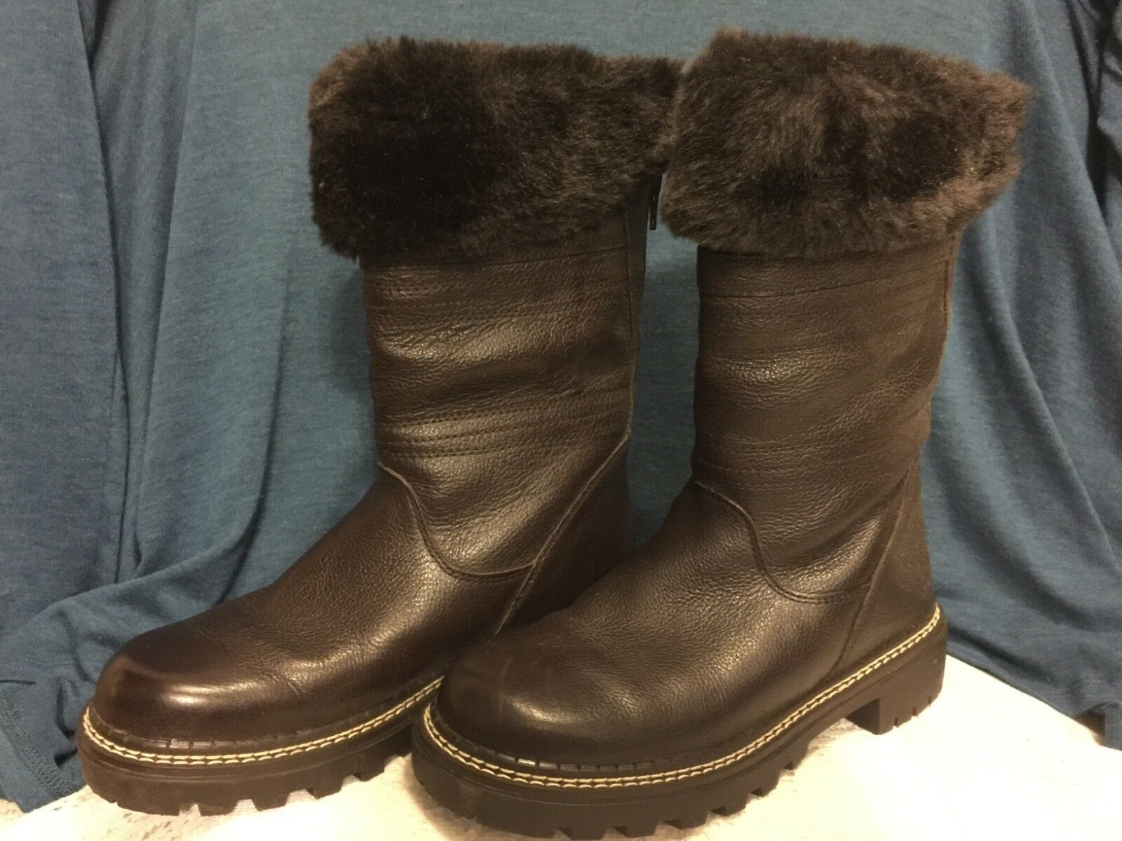 Womens Bass Leather Torino Back Back Back Zipper Brown Fur Trim Lined Winter Boots Sz 6M 36d0bf