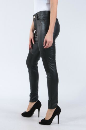 Ladies Faux Leather mid rise Trousers Skinny fit Pants Black Sizes UK 6-14