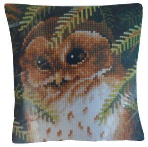 Evergreen Owl Vervaco Large HoleCanvas Cushion Kit Cross Stitch T26956 16x16 NIP