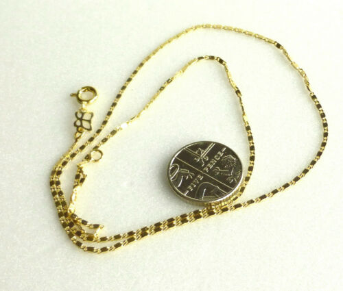 """Unisex 14K Yellow Gold Plated Small Chain Necklace 45cm 17.5 /"""" 1.2mm Thin UK"""