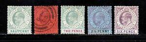Gibraltar stamps #39 - 43, MHOG & used, VVF, 1903, KEVII,  SCV $96.45