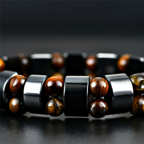 Black Magnetic Bracelet Hematite Stone Therapy Health Care Weight Loss JewelrFBB
